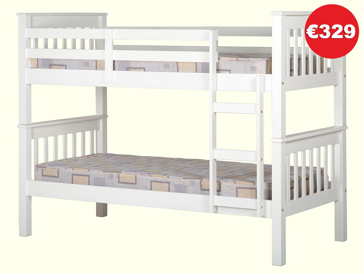 NEPTUNE White Bunk Bed Frame - The Bed Store