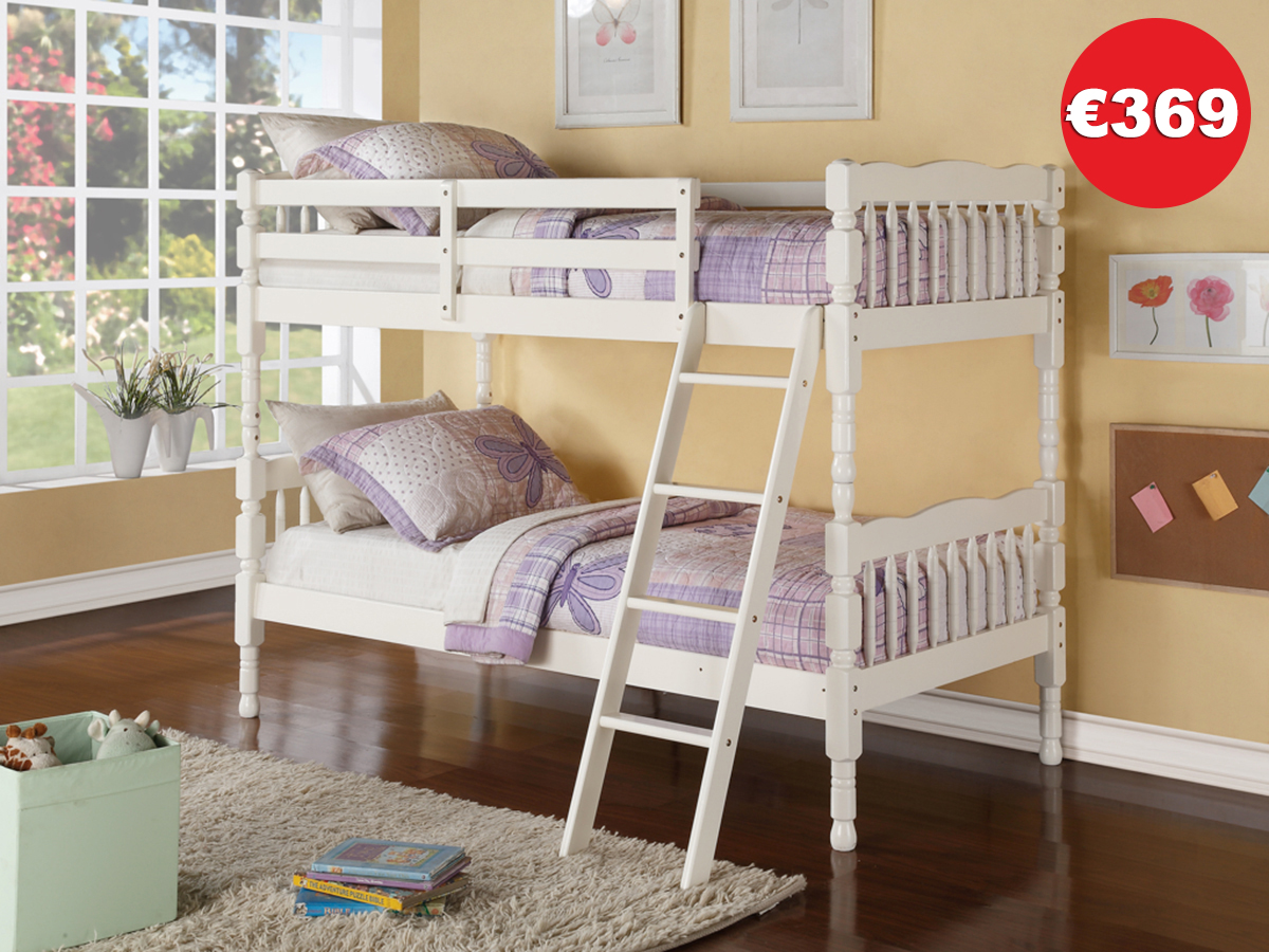 KERRI White Bunk Bed Frame - The Bed Store