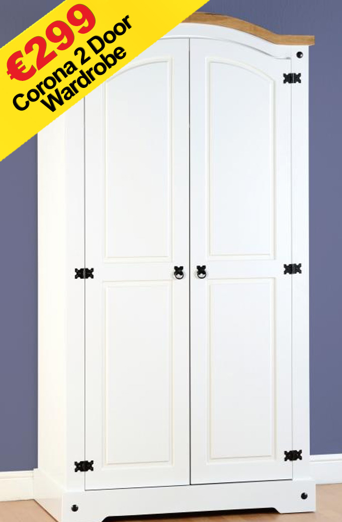 Corona 2 Door Wardrobe White The Bed Store
