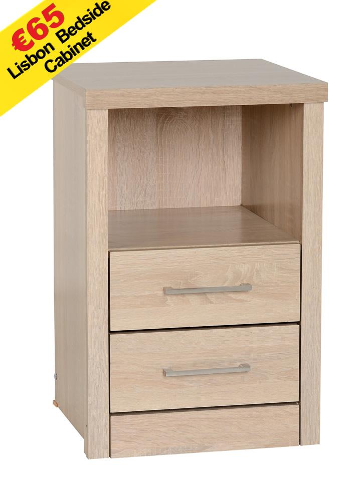 Lisbon 2 Drawer 1 Shelf Bedside Chest Light Oak The